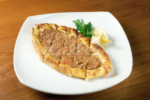Pita chleba mięsa restauracji obiedzie pieprz Zdjęcia stock © fanfo
