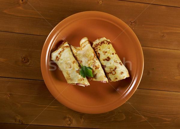 Roulé bourré jambon fromages peu profond Photo stock © fanfo