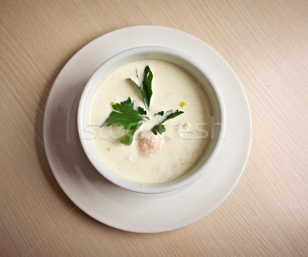 Norvég leves lazac tál krémes étel Stock fotó © fanfo