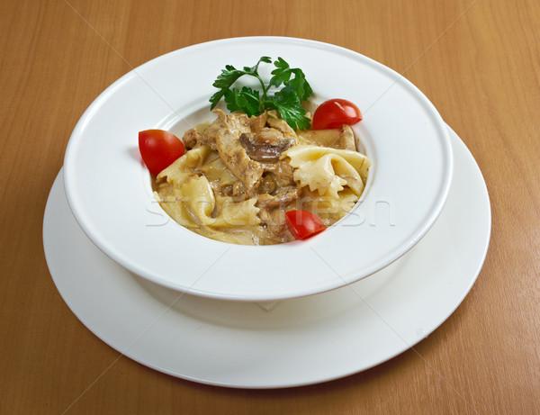 Farfalle pasta with vea Stock photo © fanfo