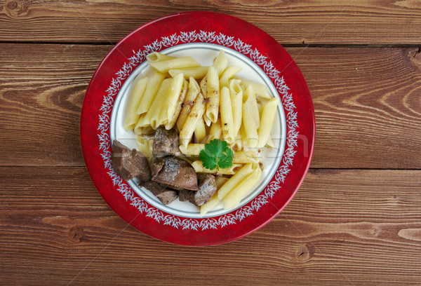 Delicious pasta with pork liver  Stock photo © fanfo