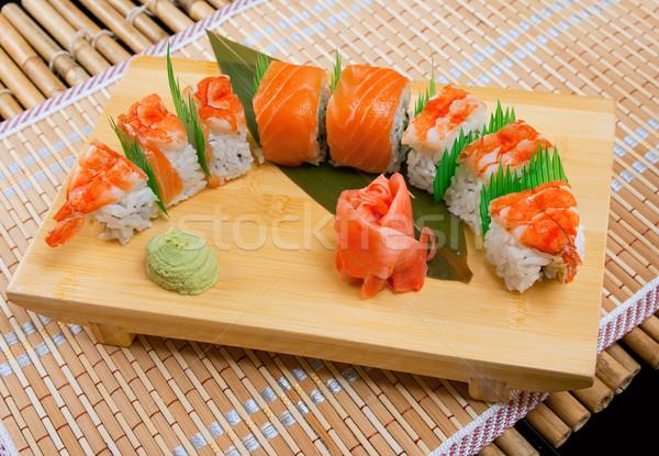 Japán szusi hagyományos lazac garnéla hal Stock fotó © fanfo