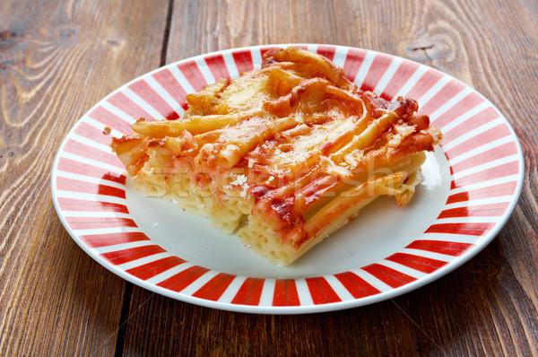 Macaroni kaas tomaat Rood eten lunch Stockfoto © fanfo