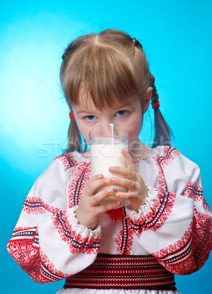 girl drinking glass of milk Stock photo © fanfo