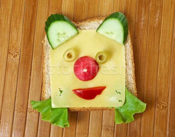 Reggeli gyermek vicces szendvics étel macska Stock fotó © fanfo