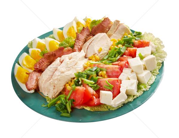 Saláta színes főfogás szalonna tyúk főtt Stock fotó © fanfo