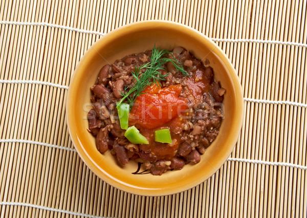 Naczyń gotowany fasola serwowane warzyw oleju Zdjęcia stock © fanfo