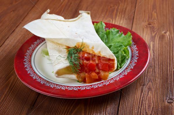 Pita reggeli szakács edény fokhagyma arab Stock fotó © fanfo