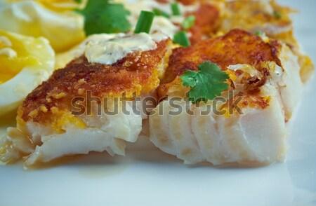 Hagyományos reggeli füstölt főtt tojás mártás Stock fotó © fanfo
