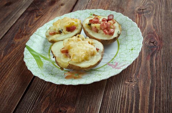 Ripieno patate prosciutto cheddar formaggio Foto d'archivio © fanfo