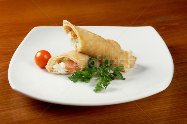 rolled pancakes stuffed chicken Stock photo © fanfo