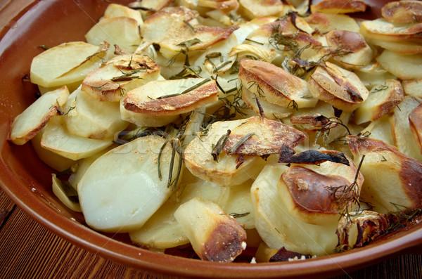 Krumpli hagyma szín zöldség tál gyógynövény Stock fotó © fanfo