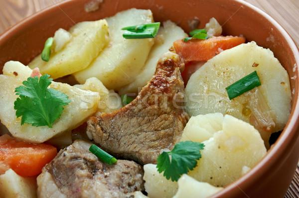 Stock fotó: Edény · francia · szeletel · krumpli · hagymák · ürü