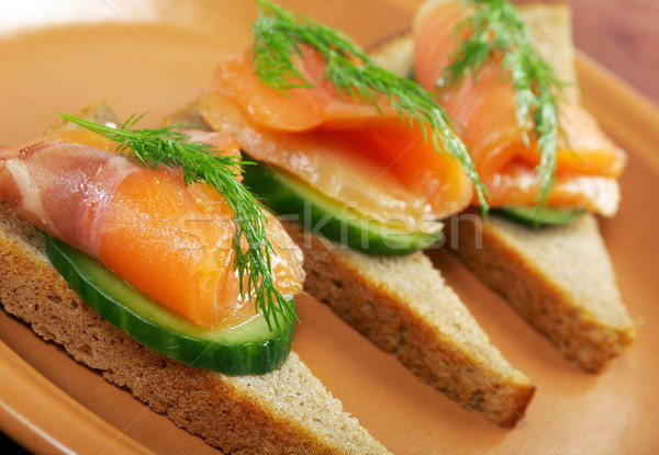 Sandwich with smoked salmon  Stock photo © fanfo