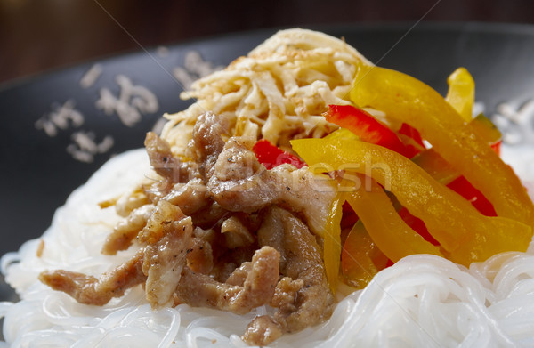 rice noodles with pork Stock photo © fanfo