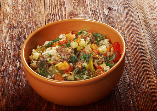 boiled pearl barley with meat and vegetable Stock photo © fanfo