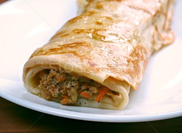 Recheado panquecas carne legumes cozinhar almoço Foto stock © fanfo