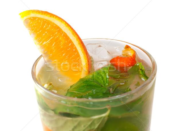 Stock fotó: Mojito · narancs · koktél · közelkép · izolált · fehér