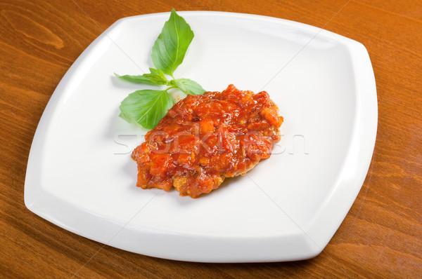 A la parrilla cerdo salsa de tomate tomate alimentos desayuno Foto stock © fanfo