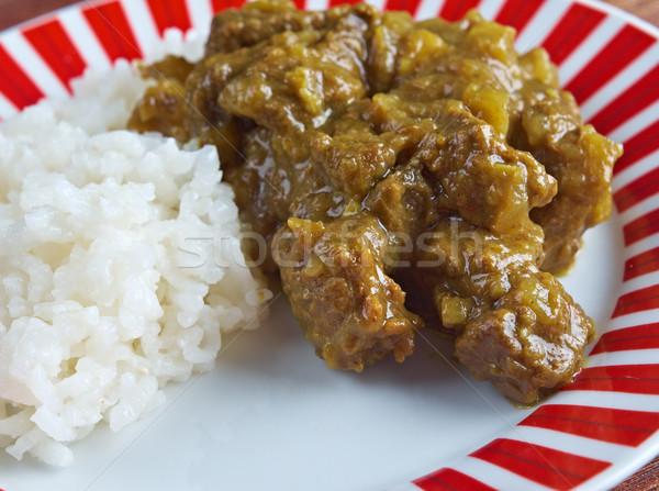 Foto stock: Carne · caril · arroz · indiano · basmati · comida