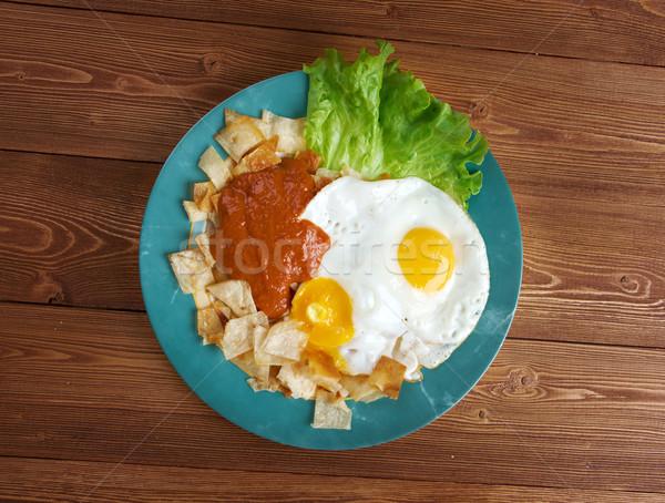 Huevos con chilaquiles Stock photo © fanfo
