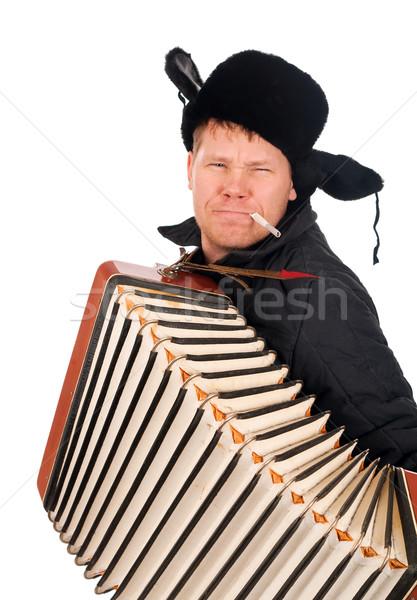 Russian man with accordion Stock photo © fanfo