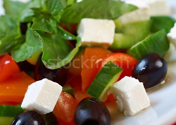 Grieks salade feta tomaten zwarte olijven selectieve aandacht Stockfoto © fanfo