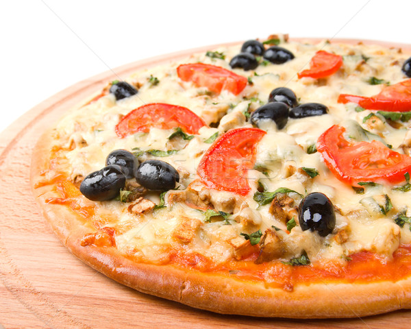 home pizza with tomato and eggplant  Closeup . Stock photo © fanfo