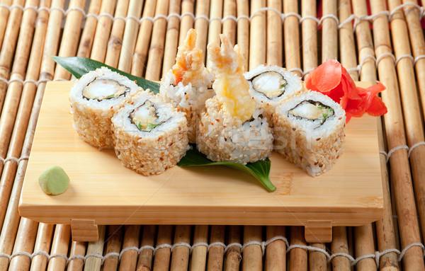 Japán szusi hagyományos füstölt hal garnéla Stock fotó © fanfo