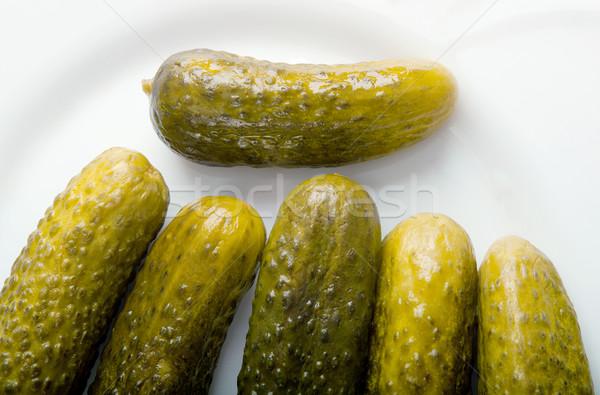 Pepino em conserva picles longe comida verde Foto stock © fanfo