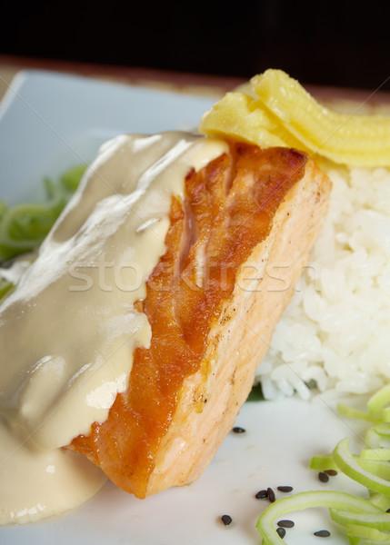 salmon in cream sauce Stock photo © fanfo