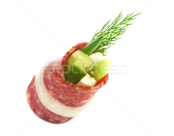 Canape platter with salami Stock photo © fanfo