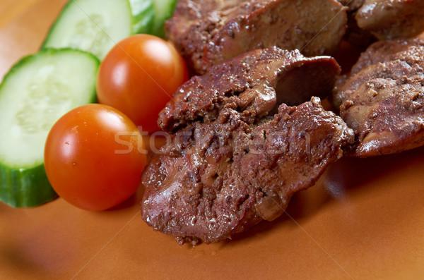 Tyúk tányér zöldség étel senki organikus Stock fotó © fanfo