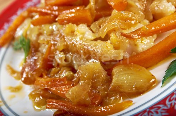 Frito peixe típico cozinha mediterrânea marinado comida Foto stock © fanfo