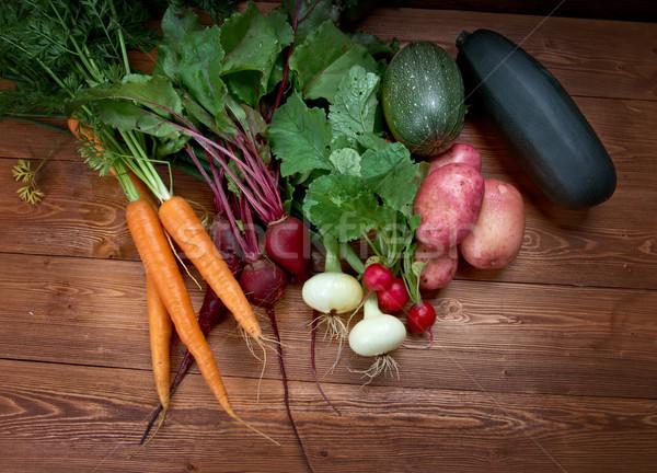 Friss zöldség friss hozzávalók főzés rusztikus étel Stock fotó © fanfo