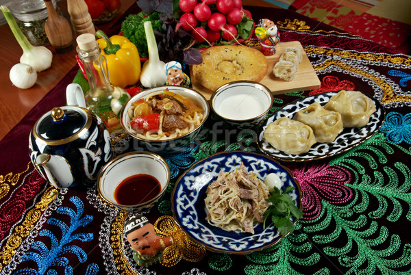 food set  Central Asian cuisine Stock photo © fanfo