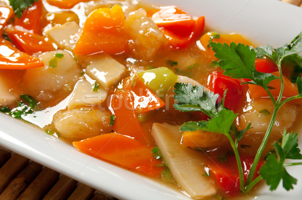 pork with vegetable and soya sauce Stock photo © fanfo