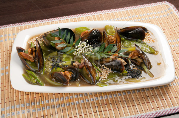 mussels with vegetable and nut Stock photo © fanfo