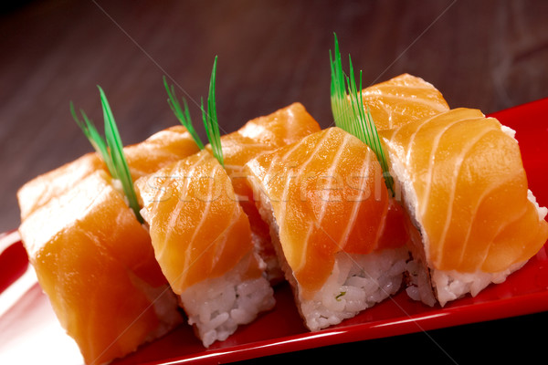 Roll made of salmon Stock photo © fanfo