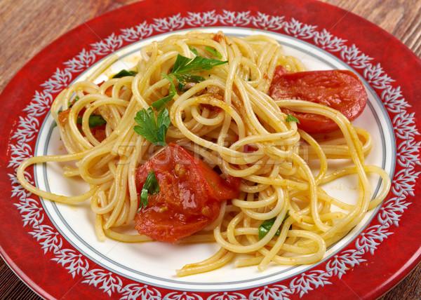 спагетти фреска продовольствие древесины растительное лука Сток-фото © fanfo
