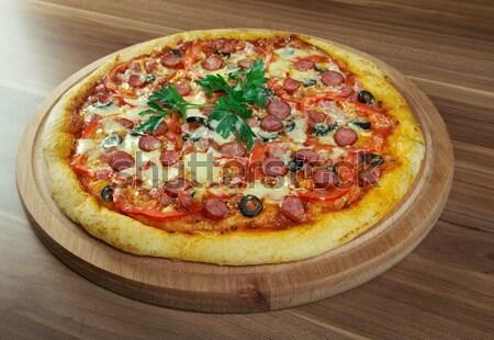 Pizza calabresa restaurante queijo jantar quente Foto stock © fanfo