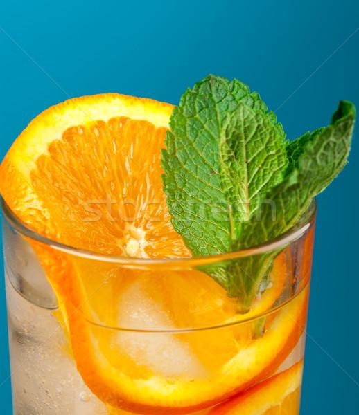 Stok fotoğraf: Mojito · turuncu · kokteyl · mavi · gözlük