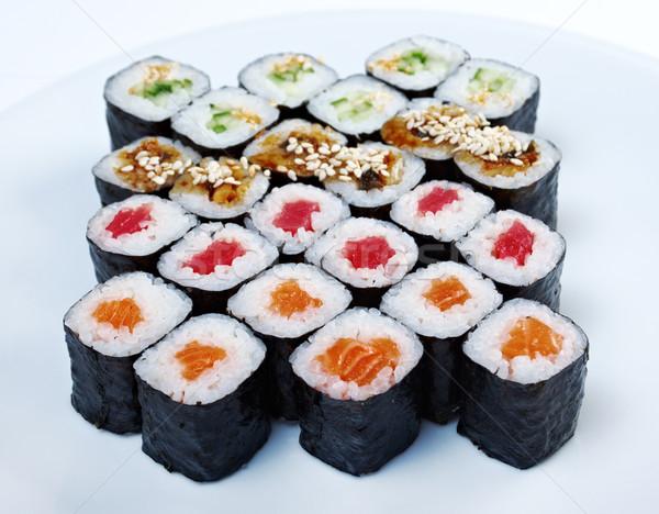 Roll made salmon, eel, tuna, vegetables Stock photo © fanfo