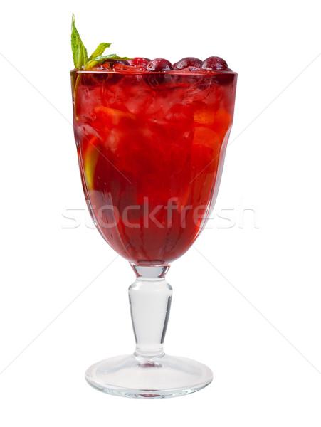 Vörösáfonya koktél közelkép izolált fehér szemüveg Stock fotó © fanfo