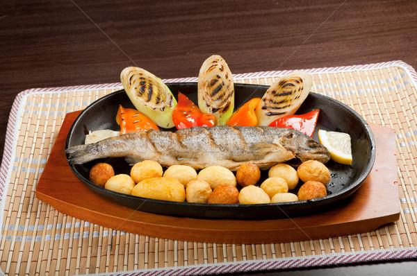 Alla griglia trota japanese cucina alimentare pesce Foto d'archivio © fanfo