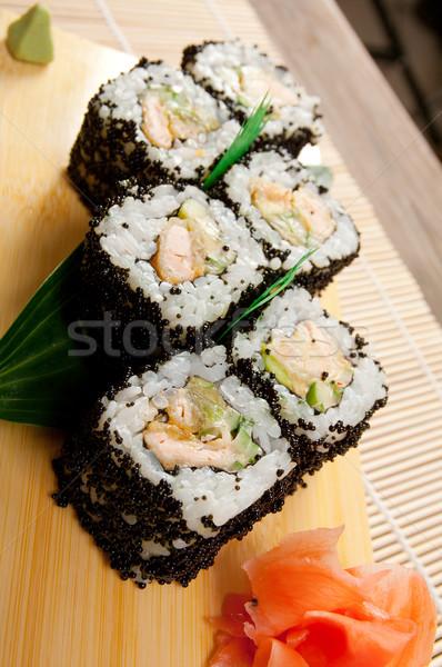 Japán szusi zsemle füstölt hal hagyományos Stock fotó © fanfo