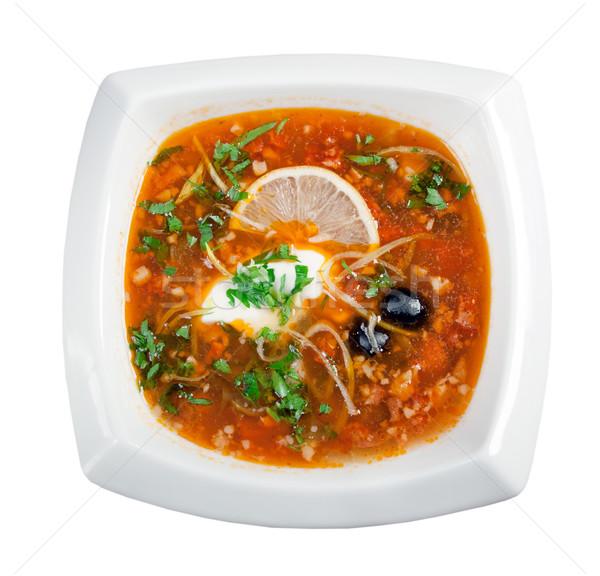 Zdjęcia stock: Zupa · warzyw · mięsa · w · górę · odizolowany · biały