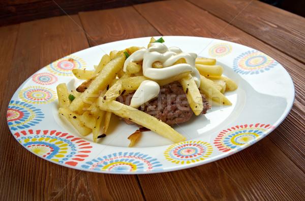 Horseshoe sandwich viande pain frites françaises web Photo stock © fanfo