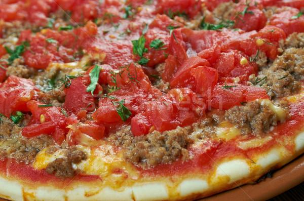 Delgado pieza carne pizza queso cocina Foto stock © fanfo
