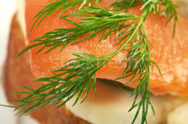 Füstölz lazac sajt uborka füstölt sekély étel Stock fotó © fanfo